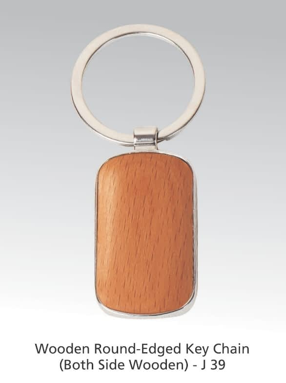 Wooden round edge key ring both side wooden  key chain