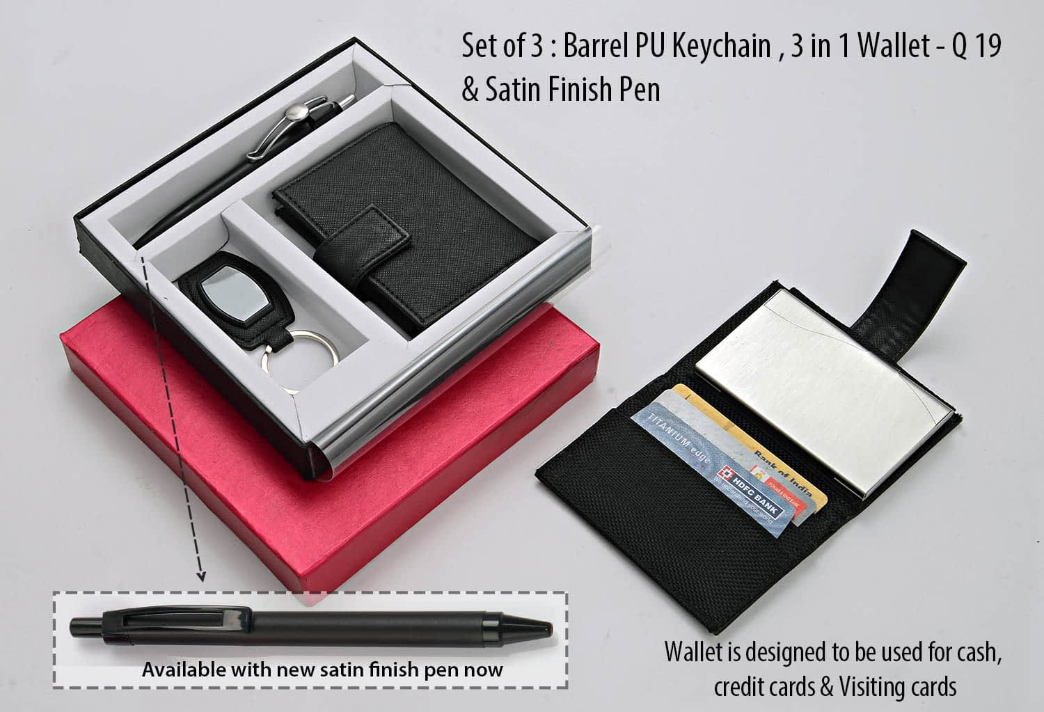 Set Of 3 - Barrel PU Keychain 3 In 1 Wallet and Highway Satin Pen