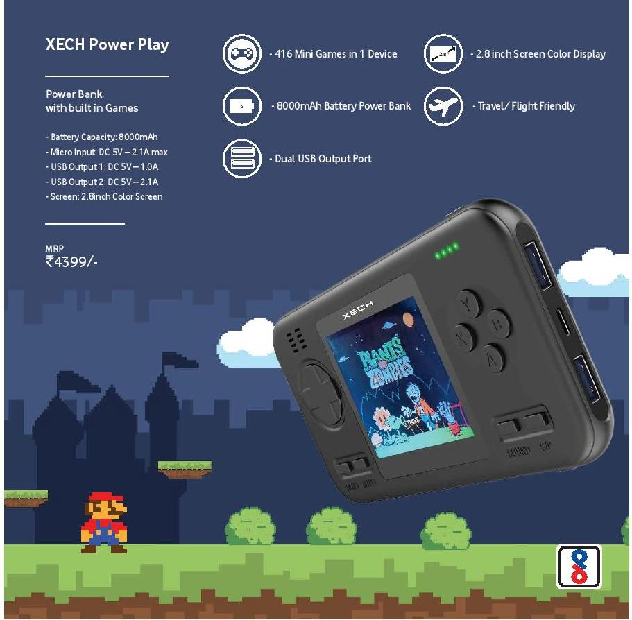 XECH Power Play 8000 mAh Power Bank with built in Games