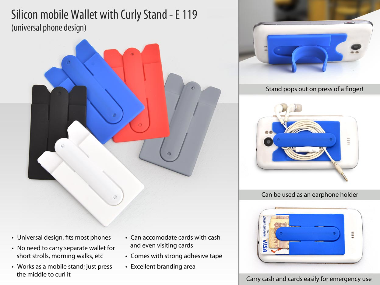 Silicon mobile wallet with curly stand
