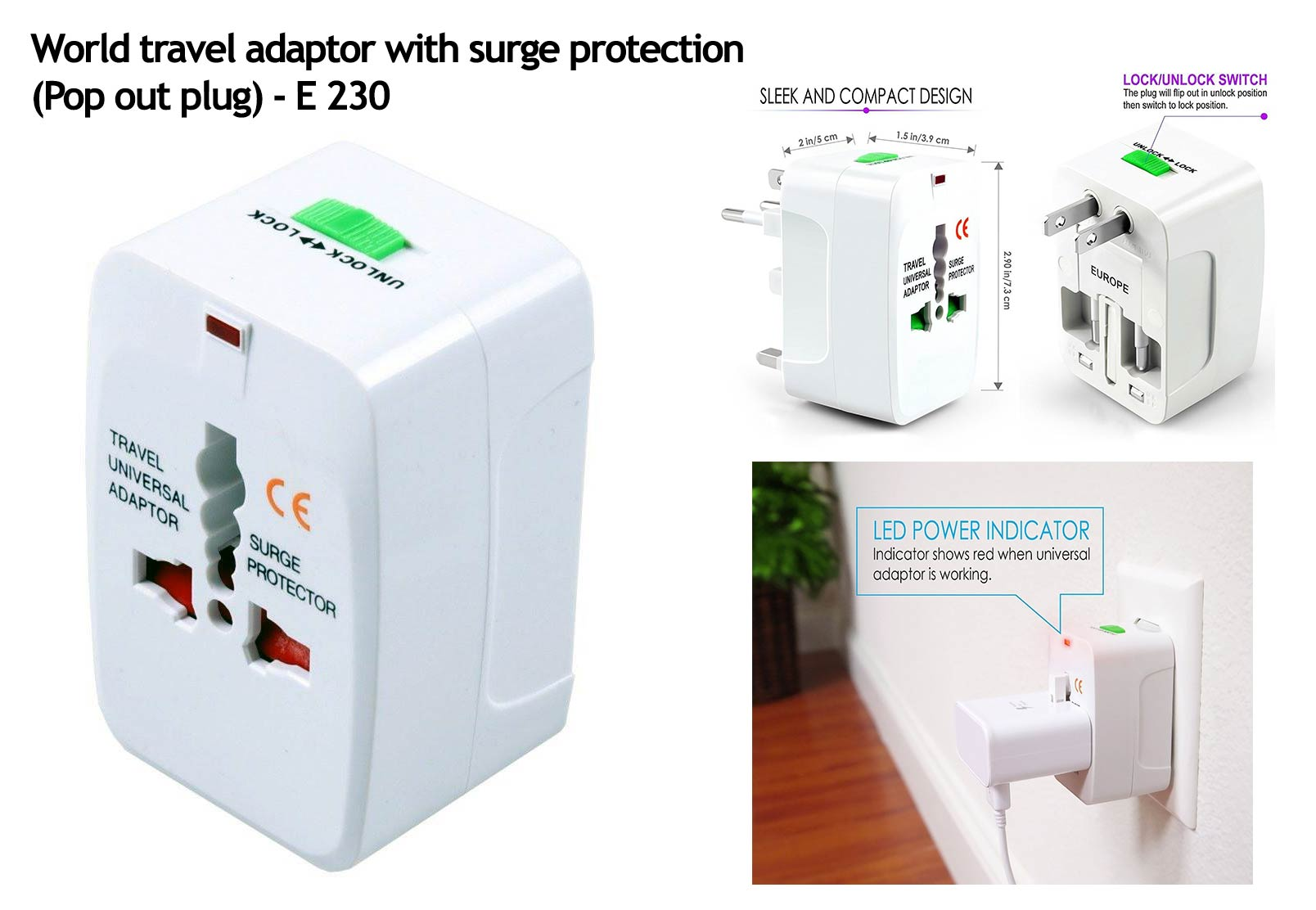 World travel adaptor with surge protection | Pop out plug (square)