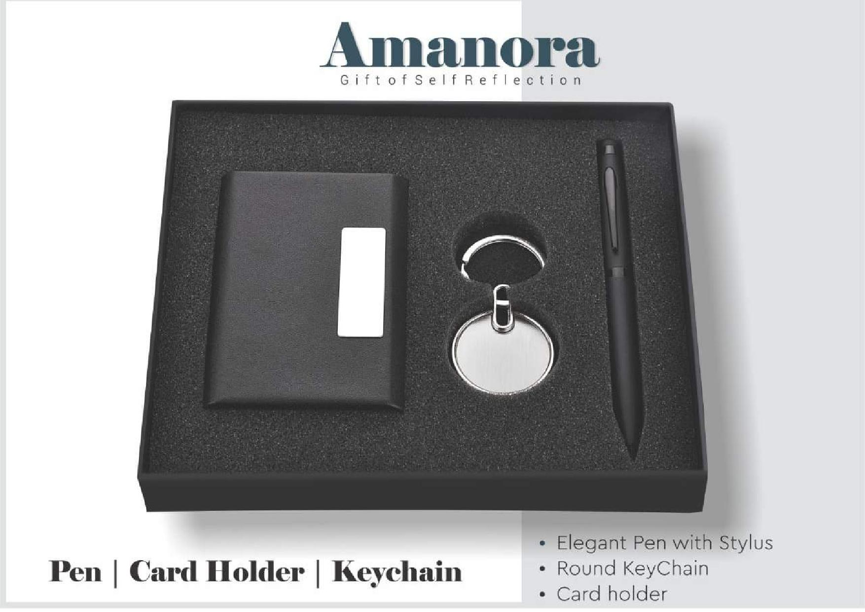Amanora 3 in 1 Card Holder Pen And Keychain Set