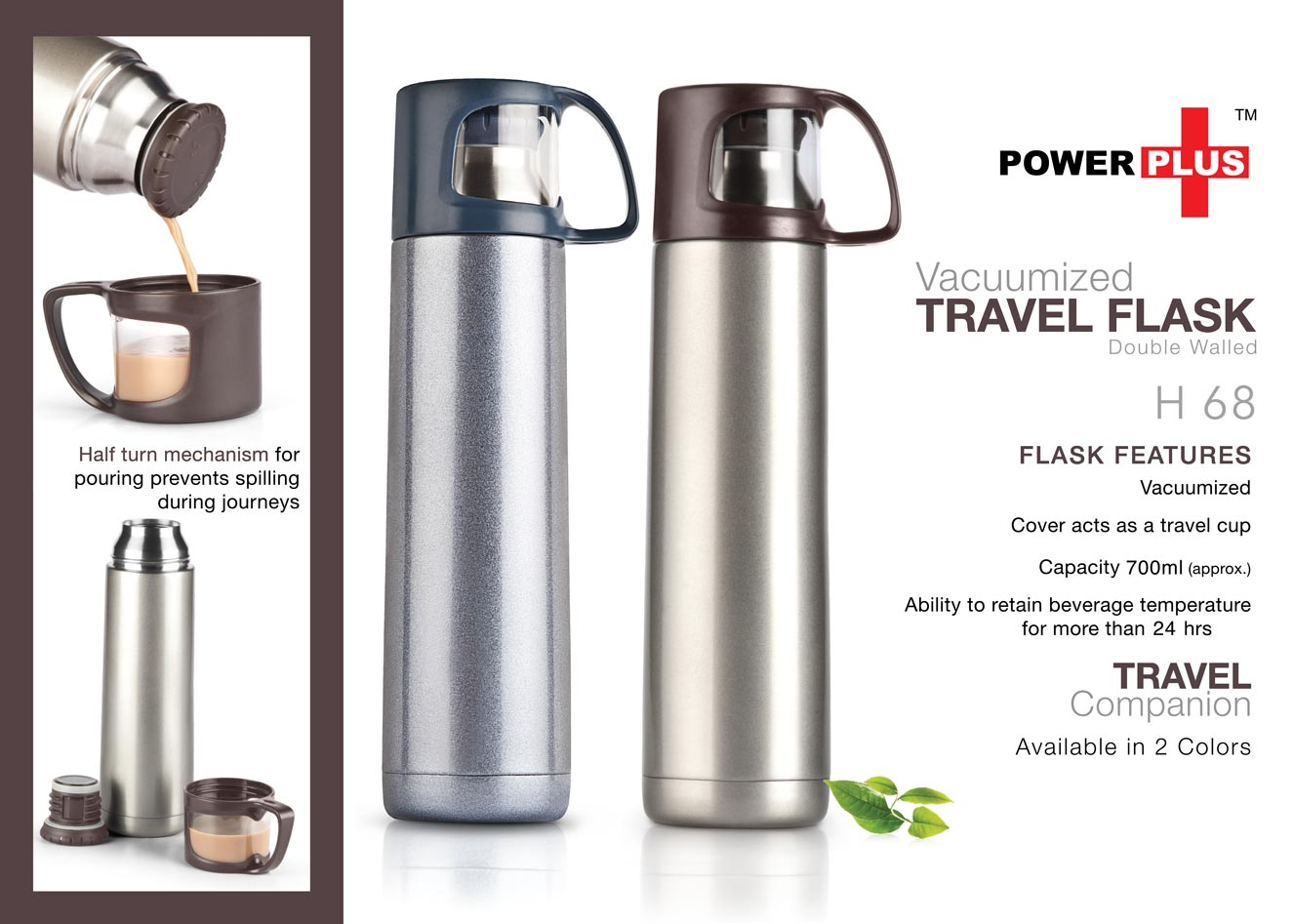 Power Plus Vacuumized travel flask (700 ml)