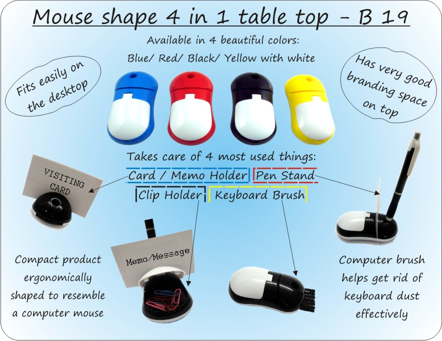 MOUSE SHAPE 4 IN 1 TABLE TOP (WITH PEN HOLDER, MEMO HOLDER, PAPER CLIP HOLDER & KEYBOARD CLEANING BRUSH)