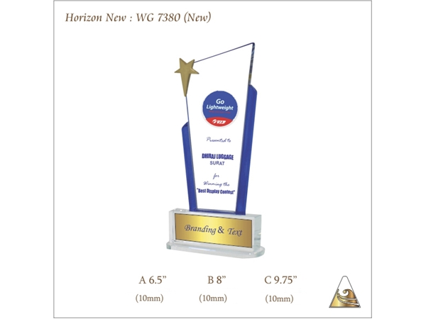 Crystal Glass Trophy Horizon New