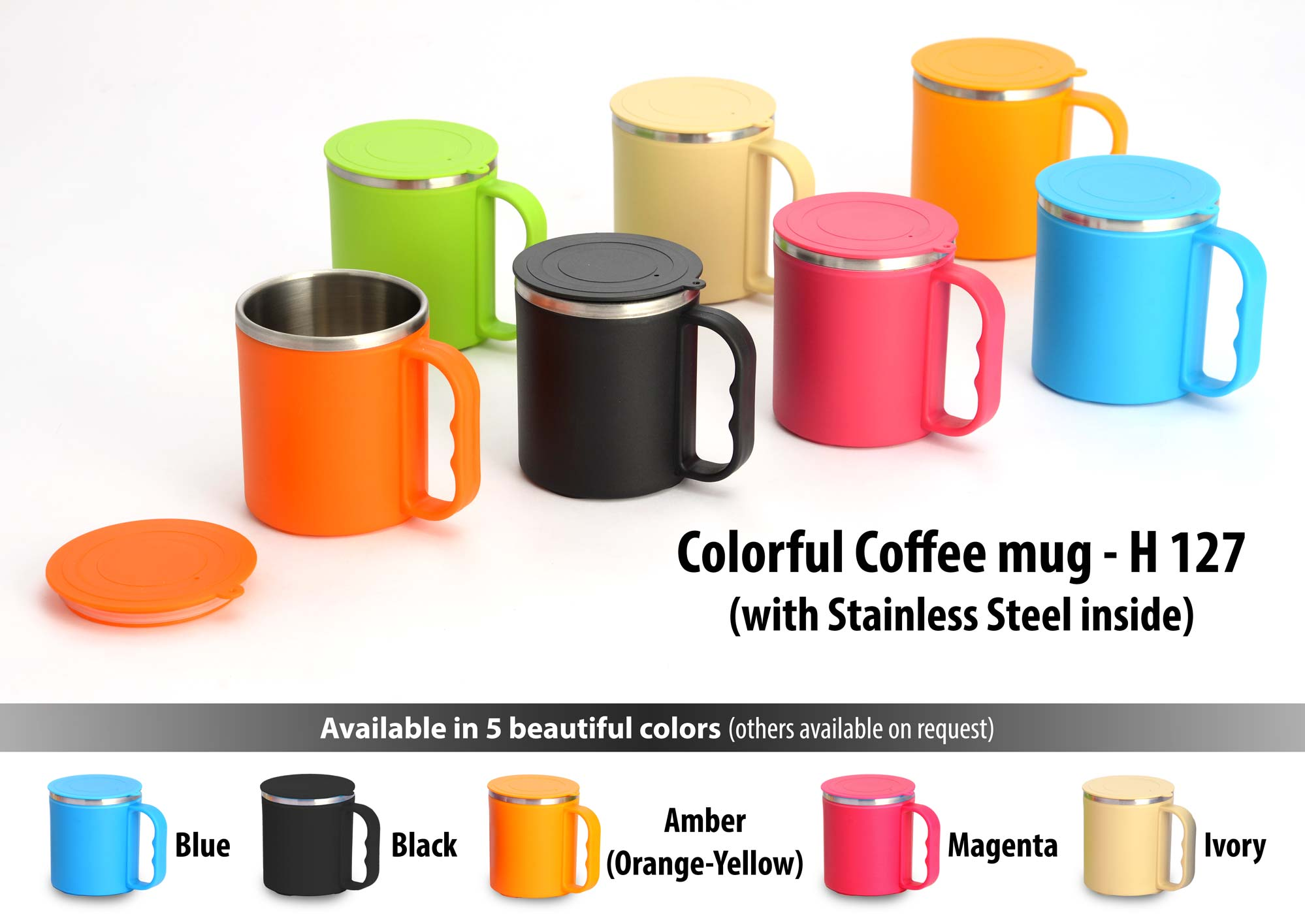 Colorful coffee mug with stainless steel inside (with cover)