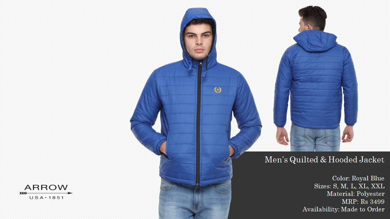 Arrow Quilted and Hooded Jackets Royal Blue