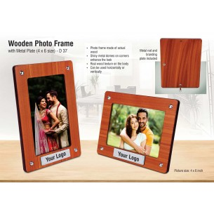 WOODEN PHOTO FRAME WITH METAL PLATE