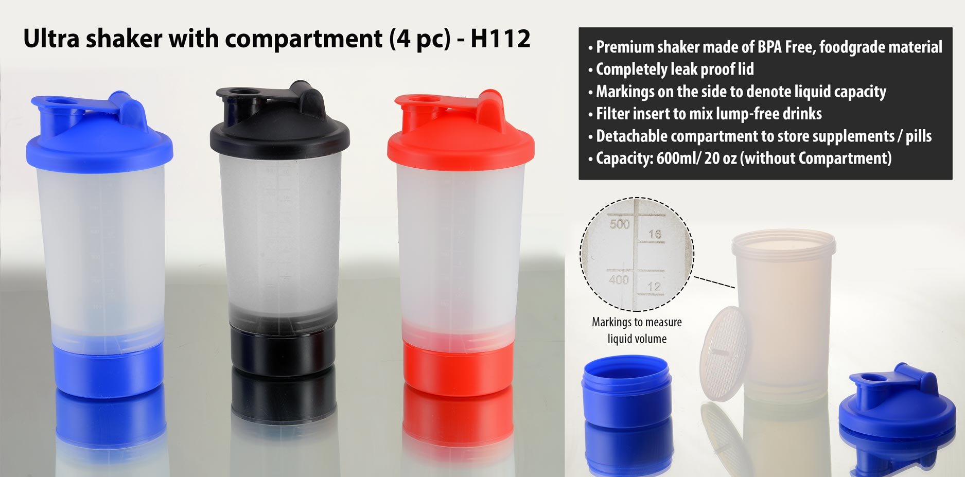 Ultra shaker with compartment (4 pc)