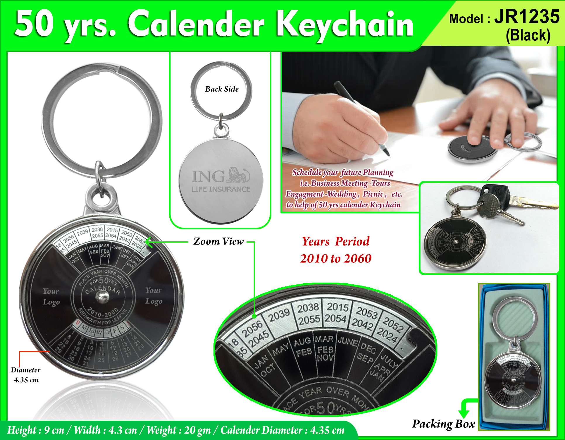 50 yrs Metal Calendar Keychain JR-1235 Black